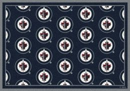 Winnipeg Jets NHL Repeating Logo Nylon Area Rug