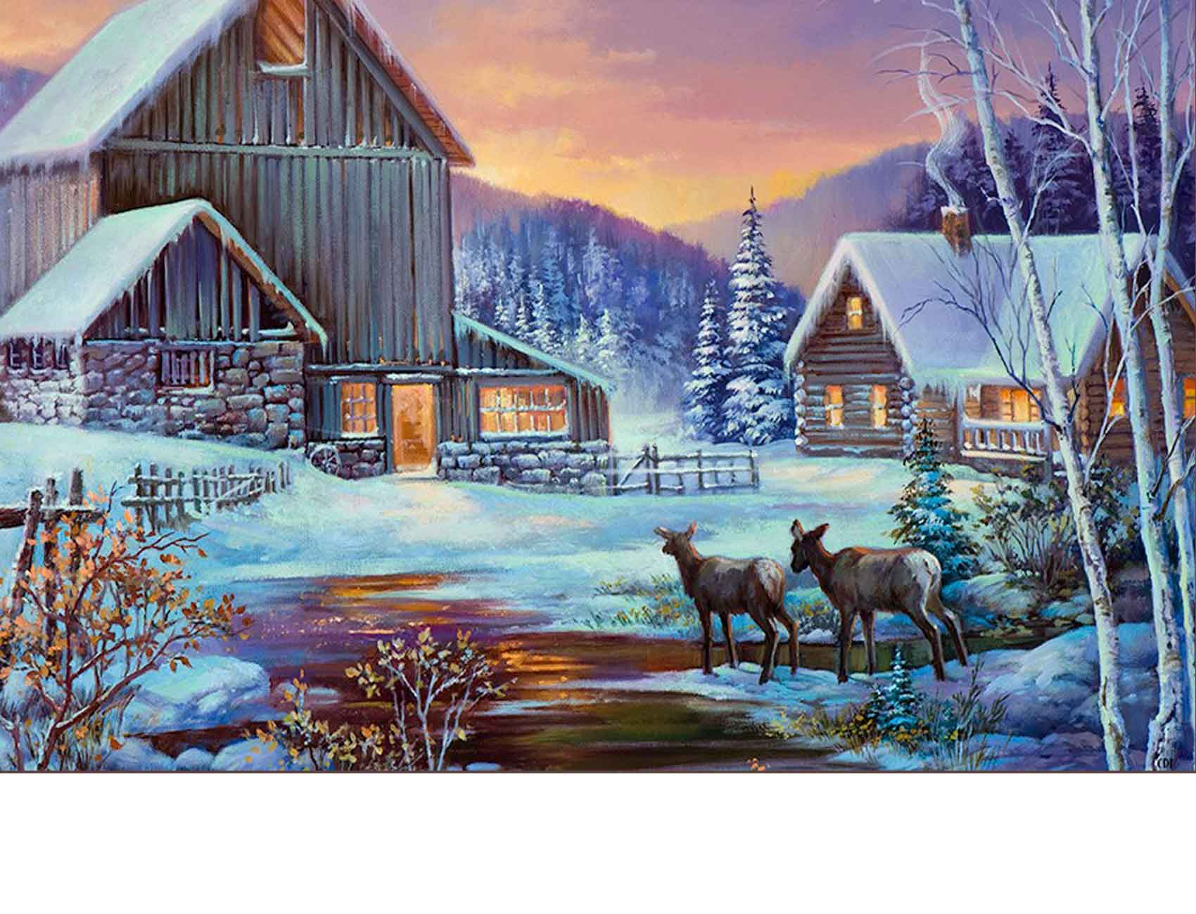 Indoor U0026 Outdoor Winter Cabin Insert Doormat   18x30