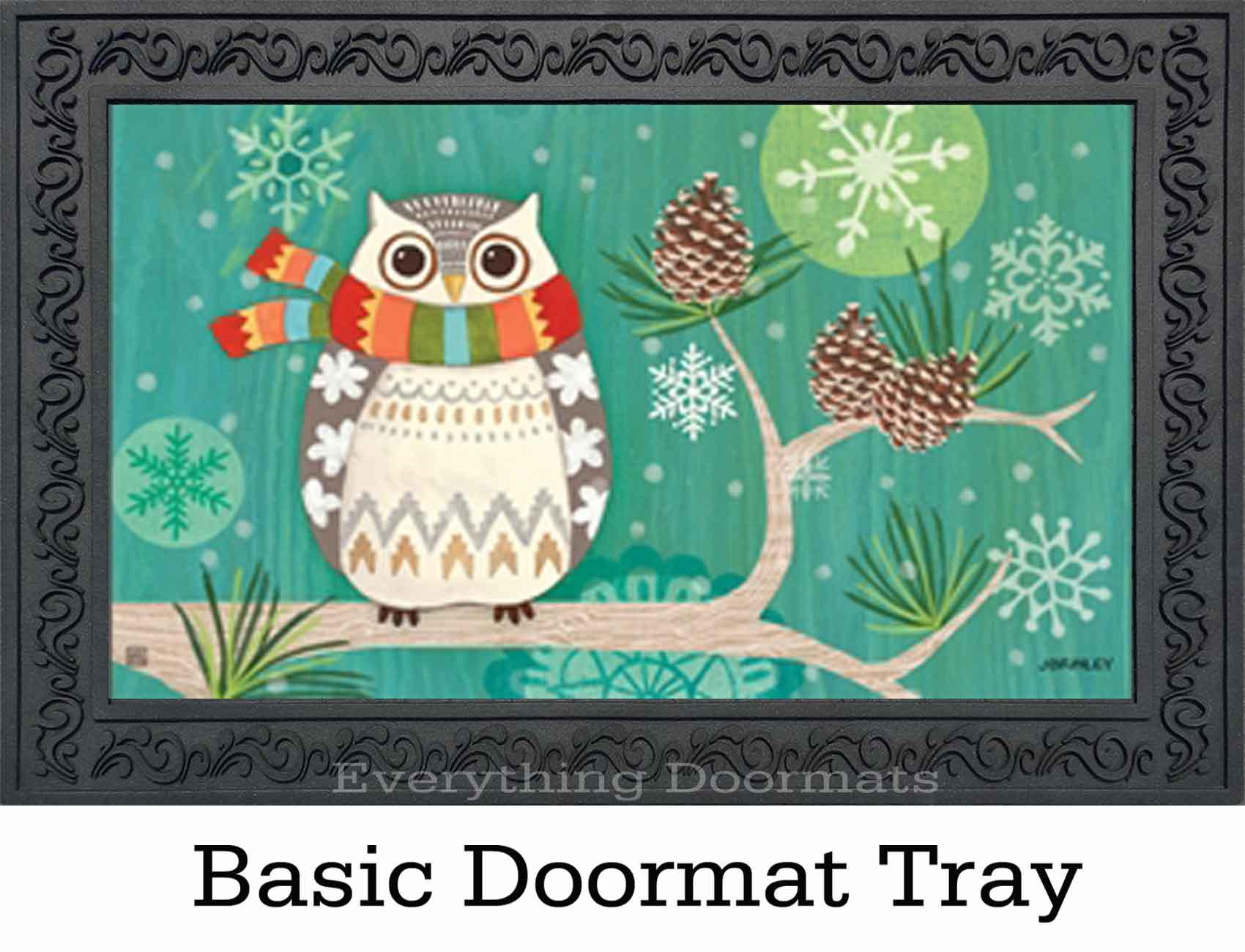 Indoor Amp Outdoor Winter Owl Matmates Doormat 18 X 30