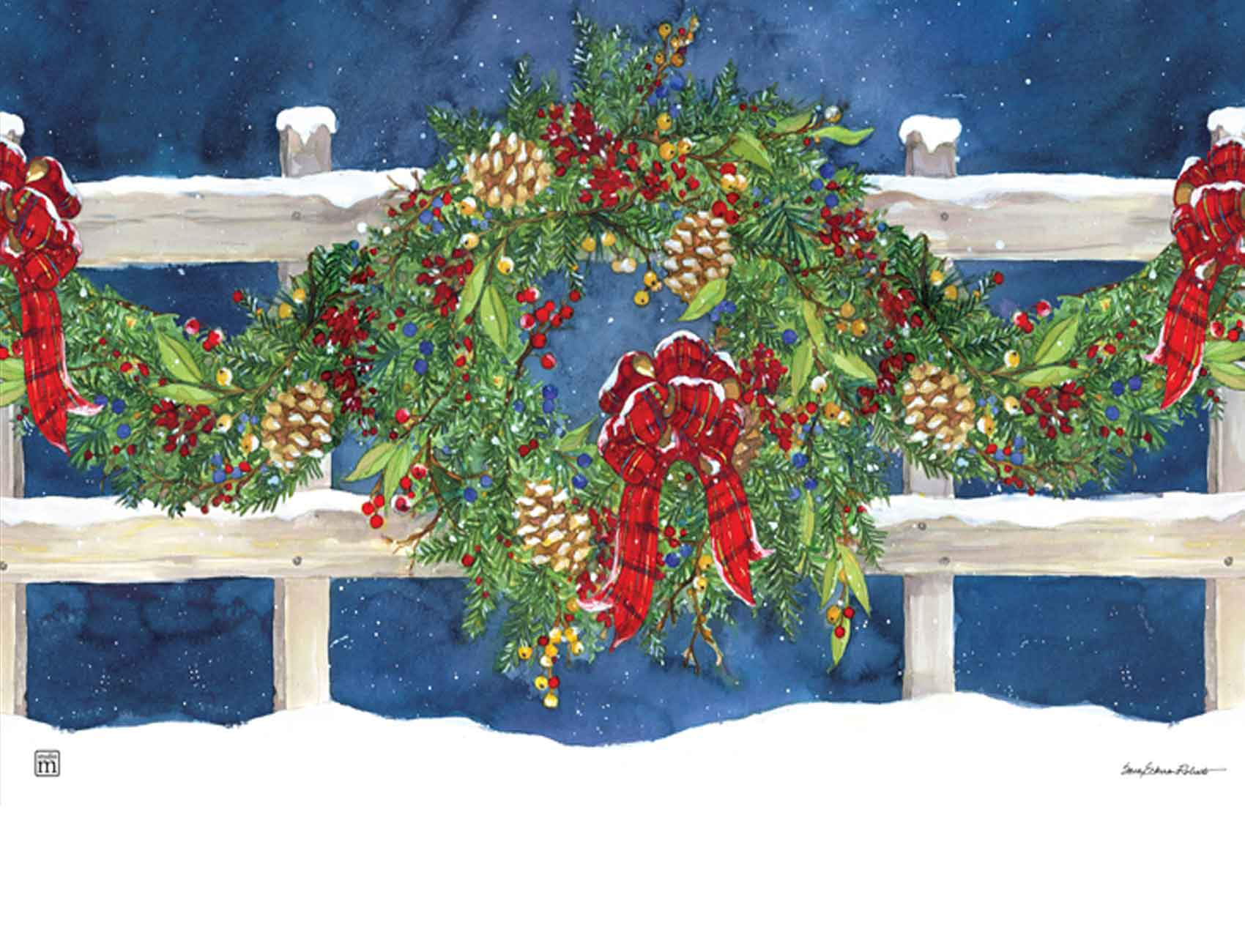 sc 1 st  Everything Doormats & Indoor u0026 Outdoor Winter Wreath MatMate Doormat-18x30