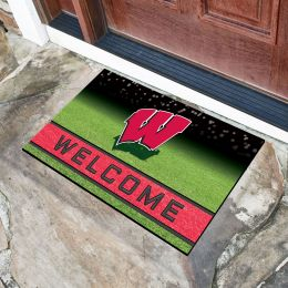 Wisconsin University Flocked Rubber Doormat - 18 x 30