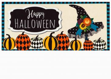 Witch Hat and Pumpkins Sassafras Mat - 10 x 22 Insert Doormat