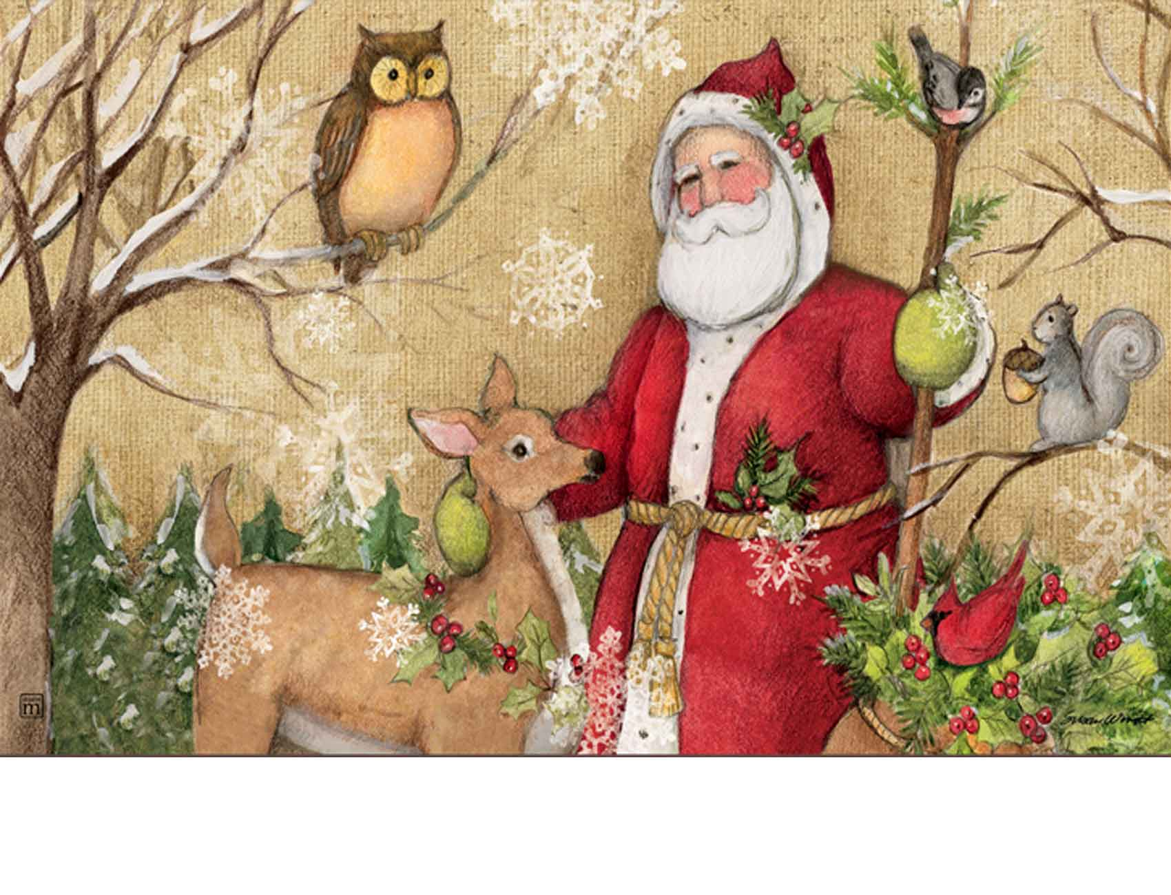 Indoor Amp Outdoor Woodland Santa Matmate Doormat 18x30