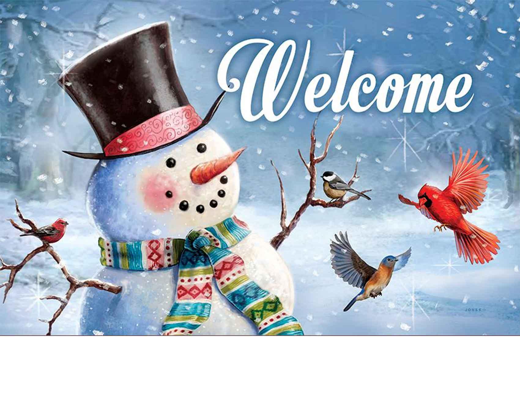 Indoor Amp Outdoor Woodsy Snowman Insert Doormat 18x30
