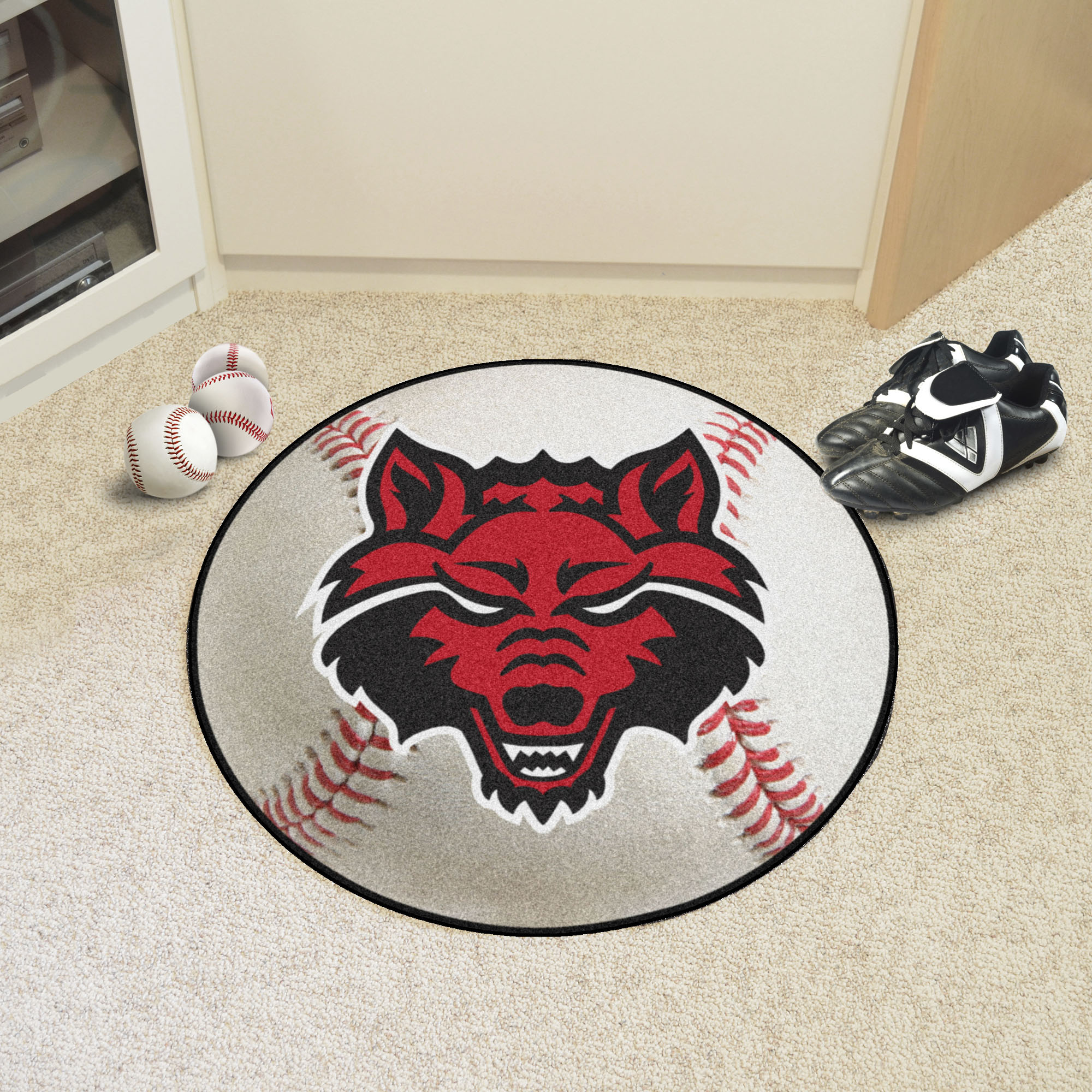 Arkansas State University Ball-Shaped Area Rugs (Ball Shaped Area Rugs: Baseball)