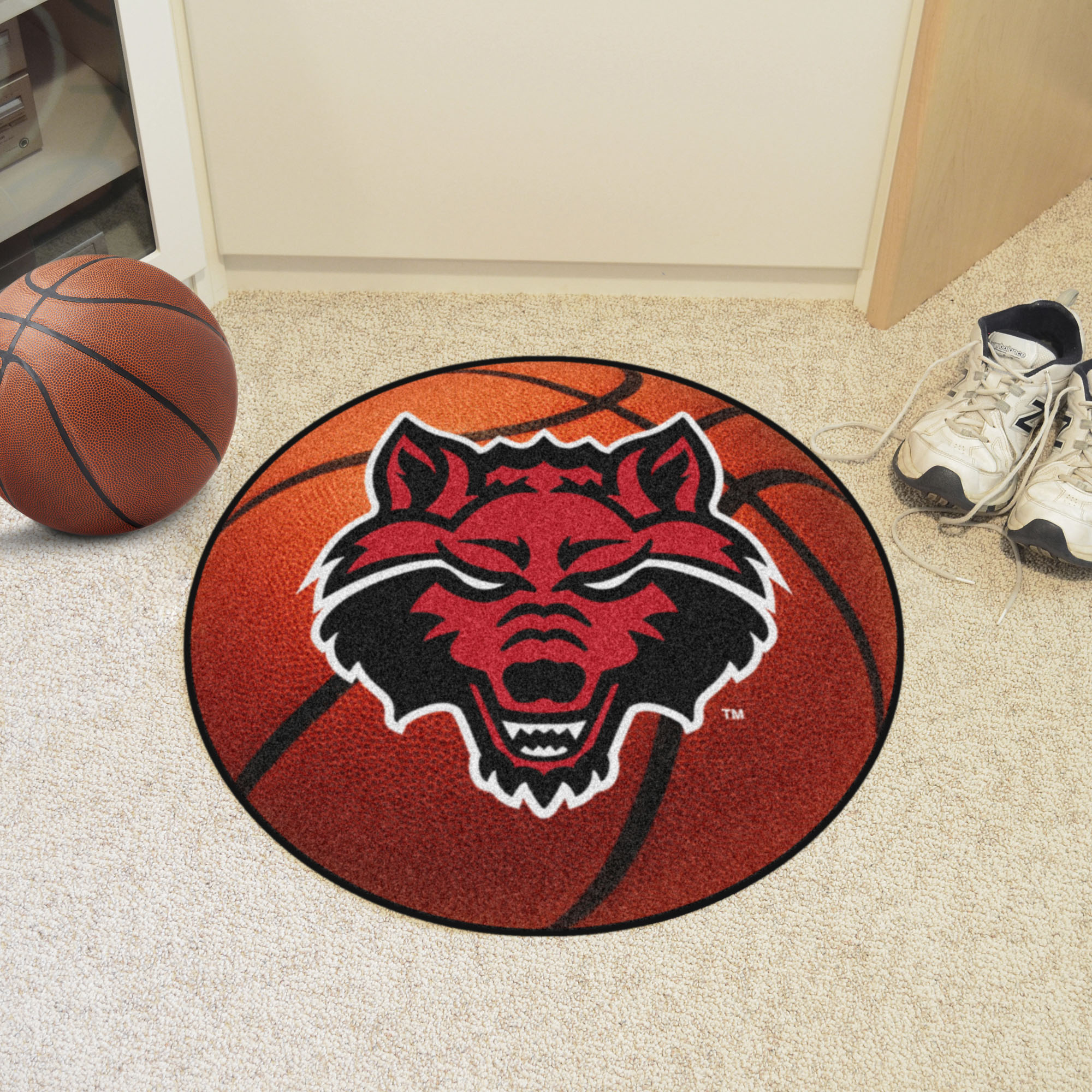 Arkansas State University Ball-Shaped Area Rugs (Ball Shaped Area Rugs: Basketball)