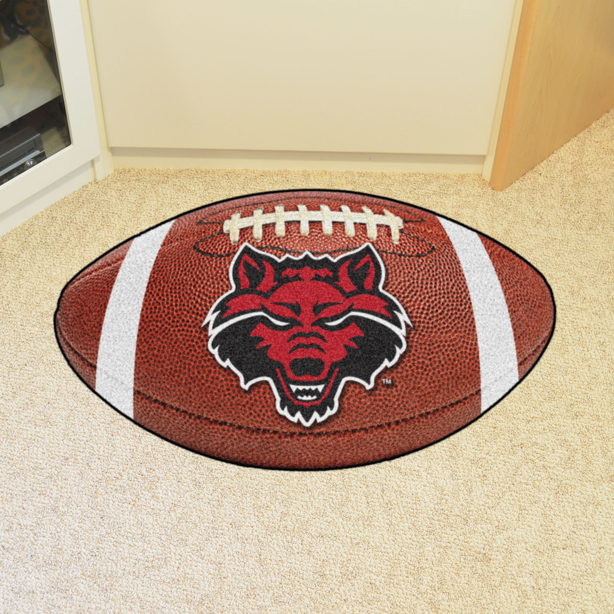 Arkansas State University Ball-Shaped Area Rugs (Ball Shaped Area Rugs: Football)