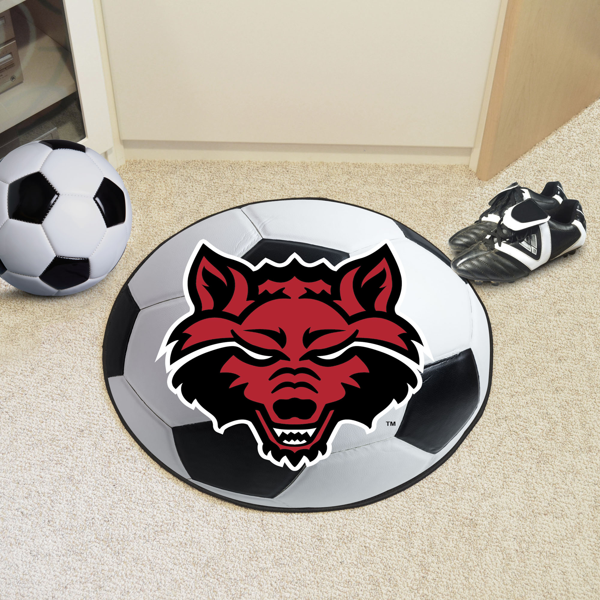 Arkansas State University Ball-Shaped Area Rugs (Ball Shaped Area Rugs: Soccer Ball)