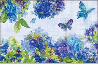 Indoor & Outdoor Blue Hydrangea MatMates Doormat - 18 x 30 (Doormat or Flag: Doormat)
