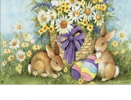 Indoor & Outdoor Easter Bunnies MatMates Doormat - 18 x 30 (Doormat or Flag: Doormat)