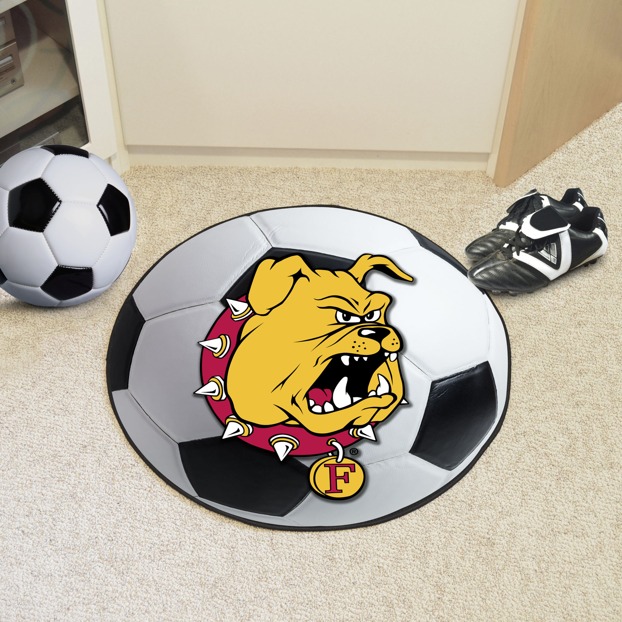 Ferris State University Ball Shaped Area Rugs (Ball Shaped Area Rugs: Soccer Ball)