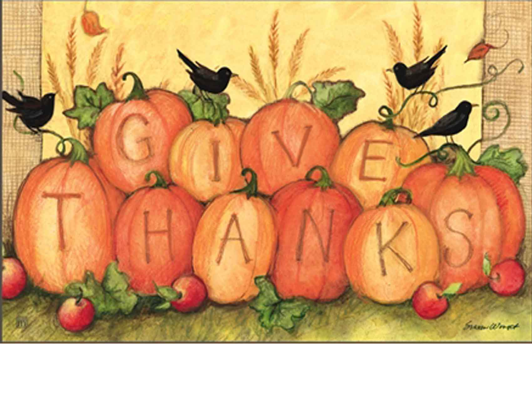 Indoor & Outdoor Give Thanks Scarecrow MatMates Doormat (Doormat or Flag: Doormat)