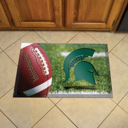 "Michigan State University Scrapper Doormat - 19"" x 30"" Rubber (Field & Logo: Football Field)"