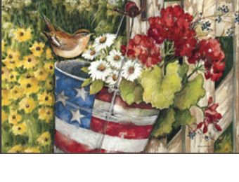 Patriotic Pail Summer Seasonal Non-Slip MatMates Welcome Doormat (Doormat or Flag: Doormat)