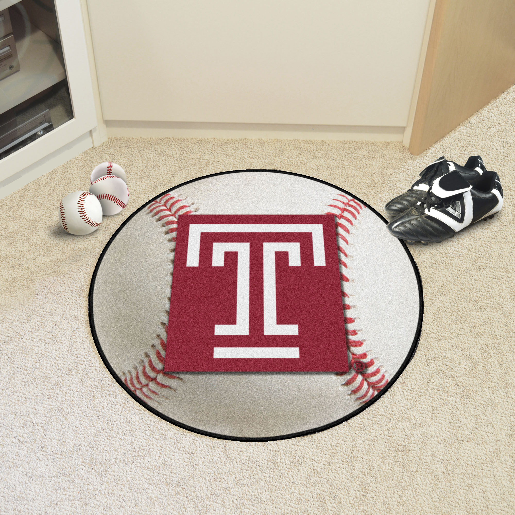 Temple University Ball Shaped Area rugs (Ball Shaped Area Rugs: Baseball)