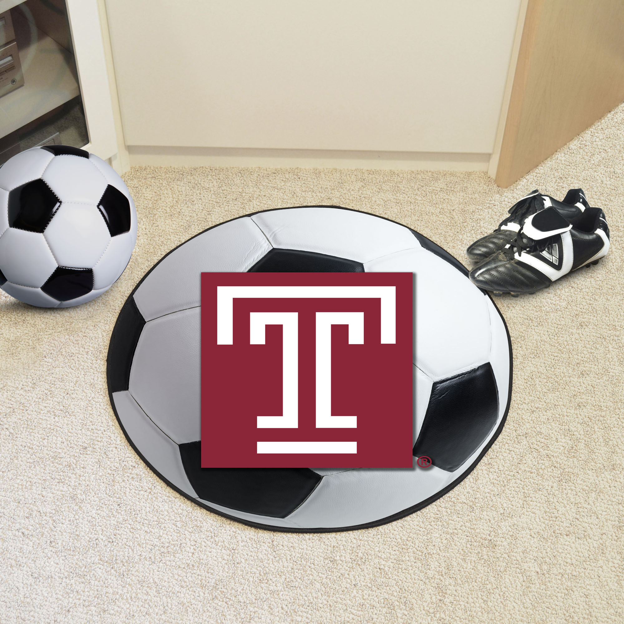 Temple University Ball Shaped Area rugs (Ball Shaped Area Rugs: Soccer Ball)