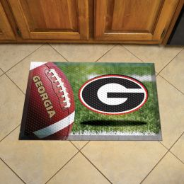 "University of Georgia Scrapper Doormat - 19"" x 30"" Rubber (Field & Logo: Football Field)"