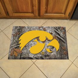 "University of Iowa Scrapper Doormat - 19"" x 30"" Rubber (Field & Logo: Camo & Logo)"
