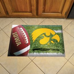 "University of Iowa Scrapper Doormat - 19"" x 30"" Rubber (Field & Logo: Football Field)"