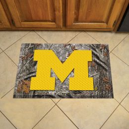 "University of Michigan Scrapper Doormat - 19"" x 30"" Rubber (Camo or Field Design: Camo & Logo)"