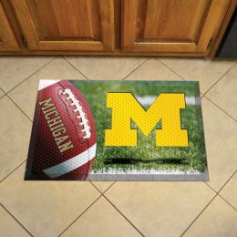"University of Michigan Scrapper Doormat - 19"" x 30"" Rubber (Camo or Field Design: Football Field)"