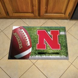 UNL Scrapper Doormat - 19 x 30 Rubber (Field & Logo: Football Field)