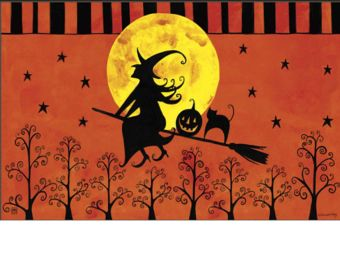 Indoor & Outdoor Witch's Ride MatMates Doormat - 18 x 30 (Doormat or Flag: Doormat)